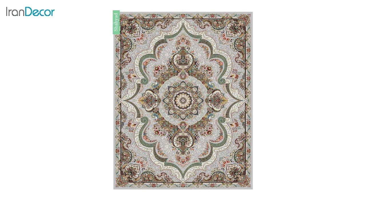تصویر فرش ماشینی 700 شانه کشمیر طرح شهیاد نقره ای