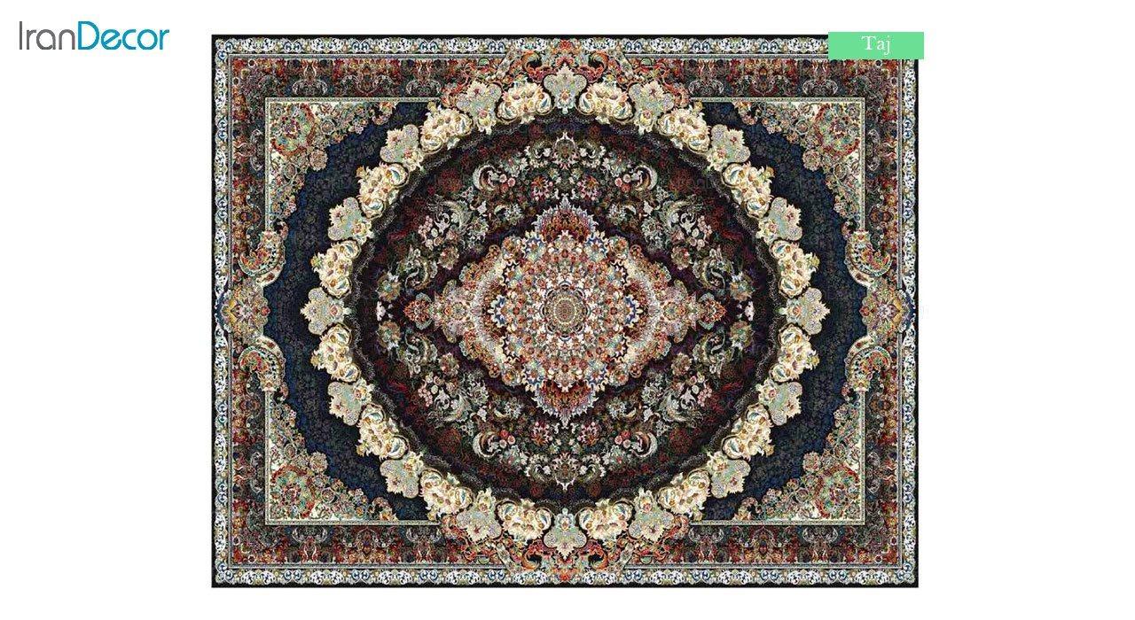 تصویر فرش ماشینی 700 شانه کشمیر طرح تاج مشکی