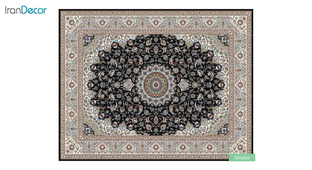 تصویر فرش ماشینی 700 شانه کشمیر طرح شمس مشکی