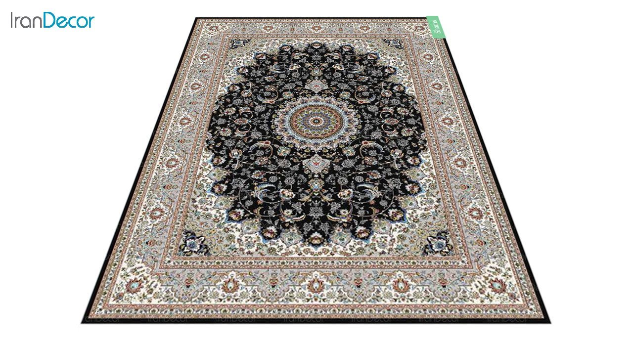 عکس فرش ماشینی 700 شانه کشمیر طرح شمس مشکی