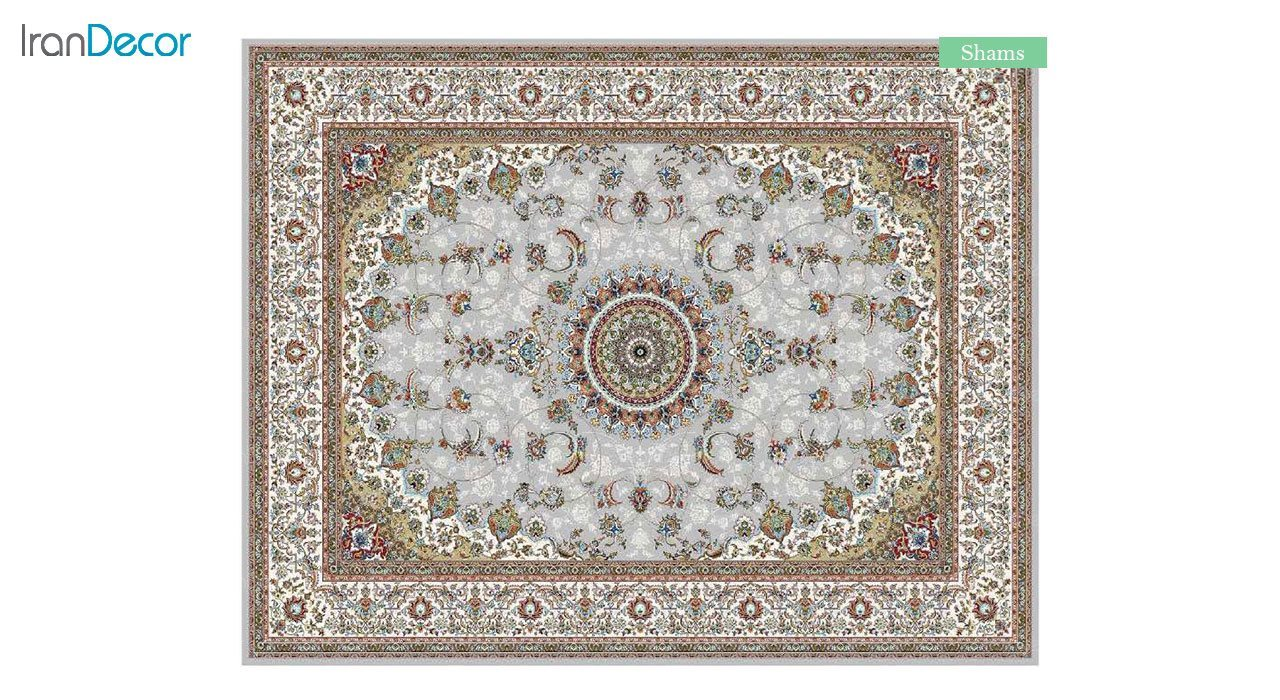 تصویر فرش ماشینی 700 شانه کشمیر طرح شمس نقره ای
