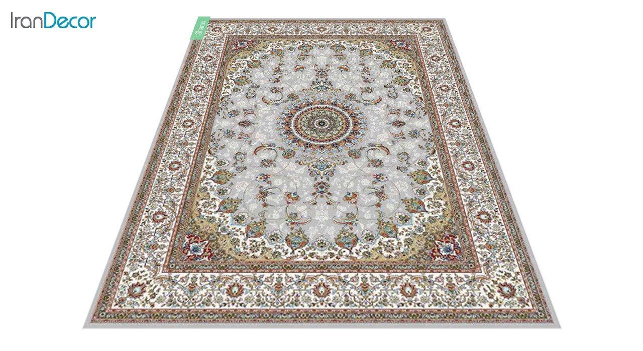 عکس فرش ماشینی 700 شانه کشمیر طرح شمس نقره ای