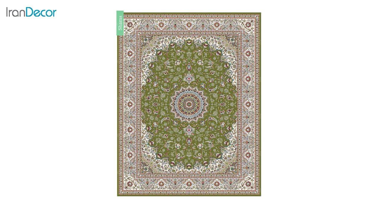 تصویر فرش ماشینی 700 شانه کشمیر طرح شمس سبز