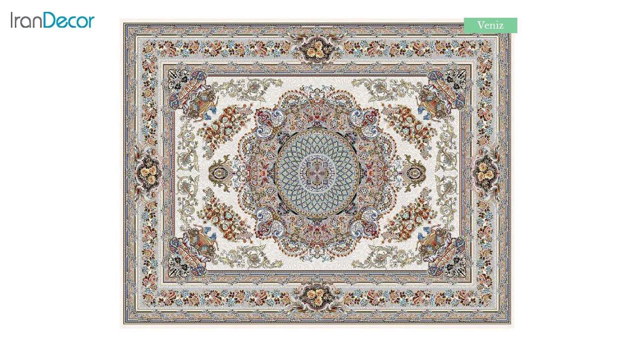 تصویر فرش ماشینی 700 شانه کشمیر طرح ونیز کرم