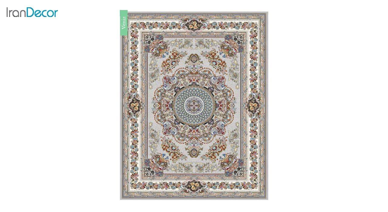 تصویر فرش ماشینی 700 شانه کشمیر طرح ونیز نقره ای
