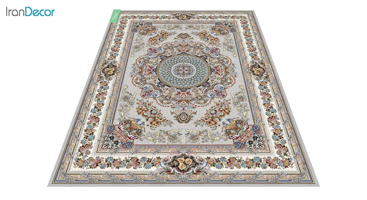 عکس فرش ماشینی 700 شانه کشمیر طرح ونیز نقره ای