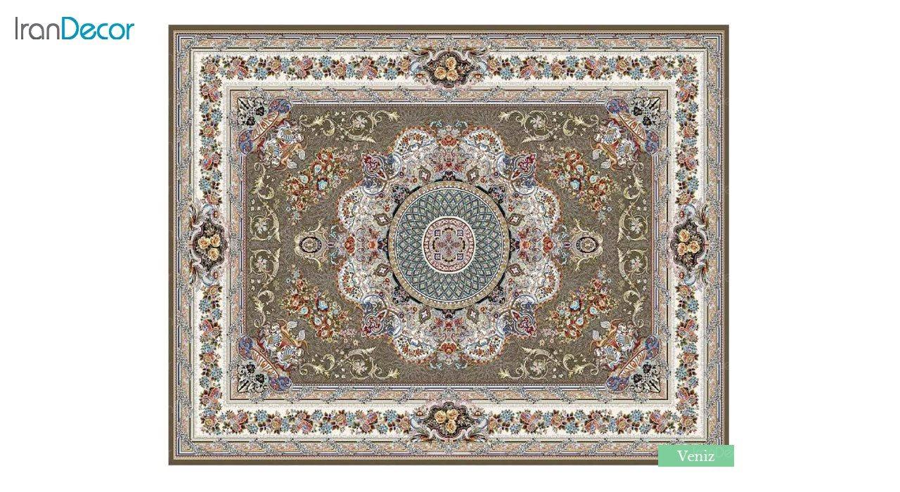 تصویر فرش ماشینی 700 شانه کشمیر طرح ونیز قهوه ای