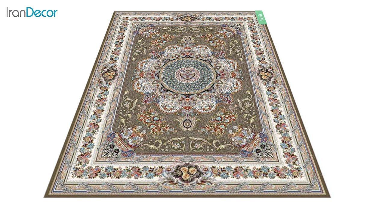 عکس فرش ماشینی 700 شانه کشمیر طرح ونیز قهوه ای