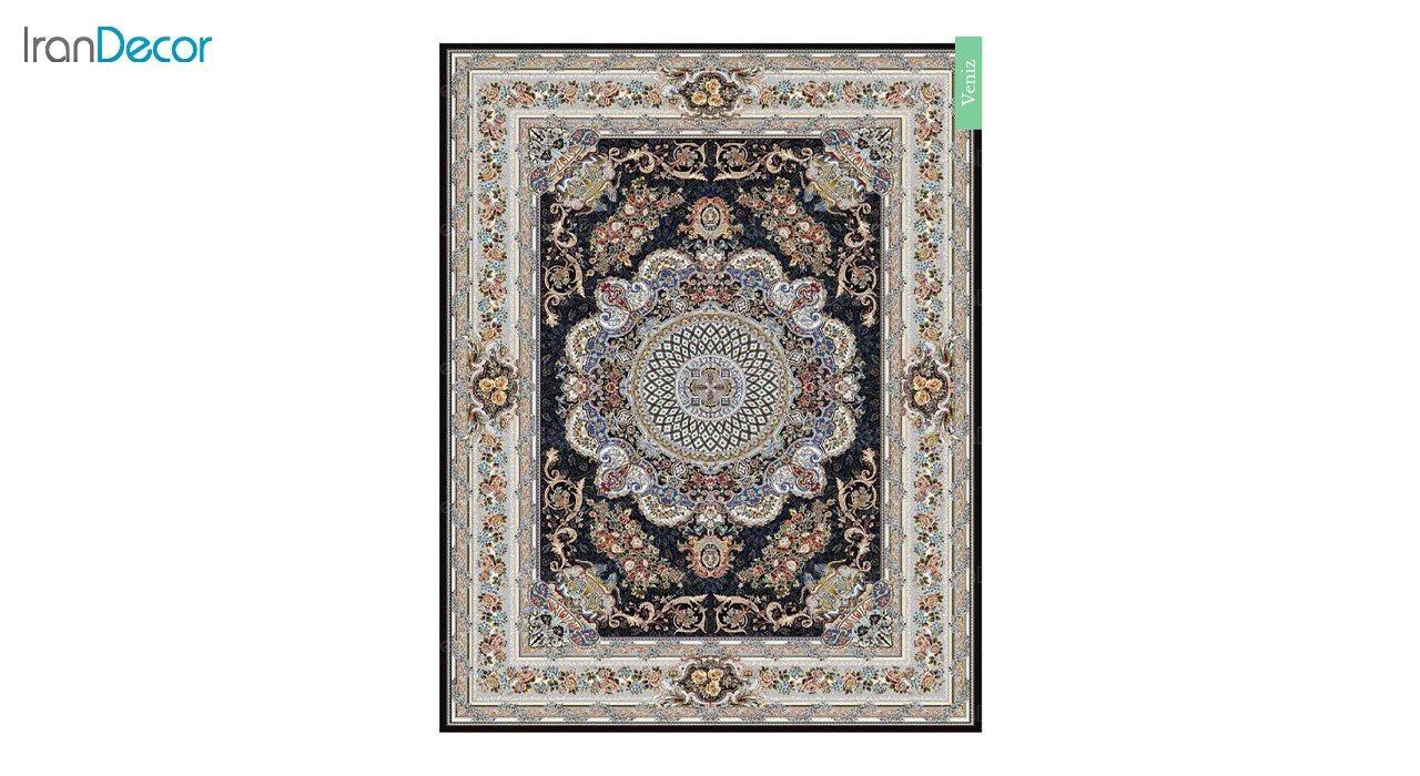 تصویر فرش ماشینی 700 شانه کشمیر طرح ونیز مشکی