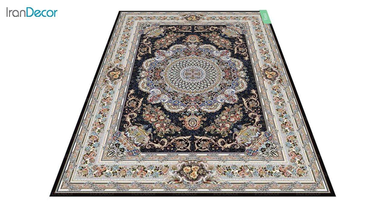 عکس فرش ماشینی 700 شانه کشمیر طرح ونیز مشکی