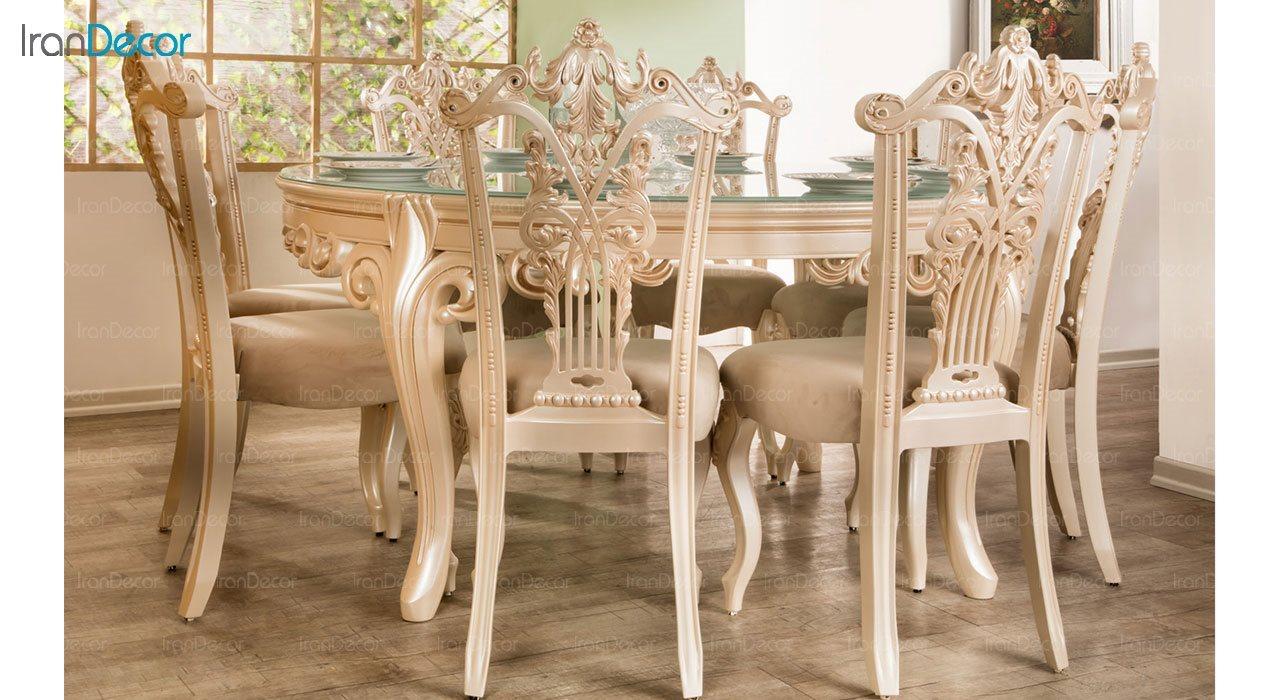 تصویر سرویس ناهار خوری کلاسیک ماندگار مدل پانیذ با صندلی سپهرام