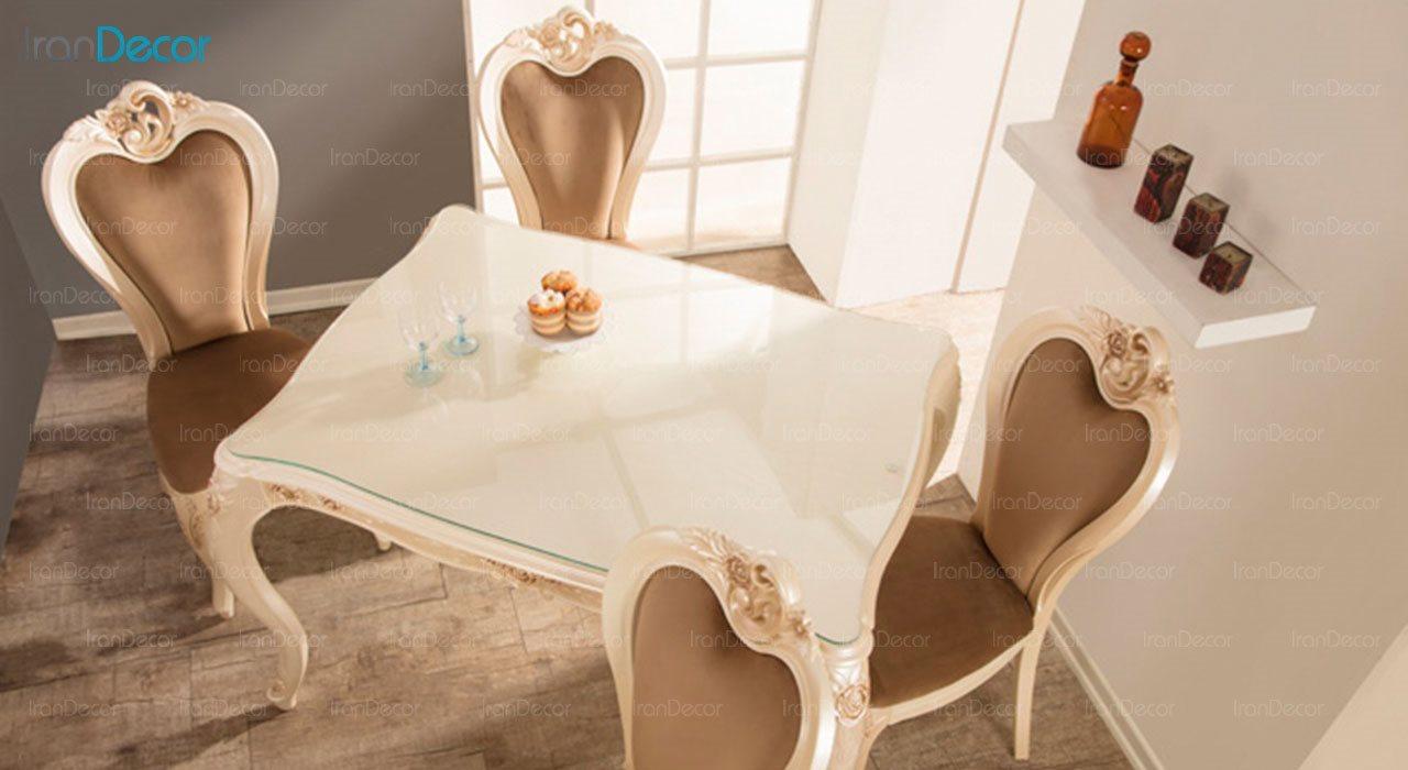 تصویر سرویس ناهار خوری سلطنتی ماندگار مدل رز با صندلی سپید