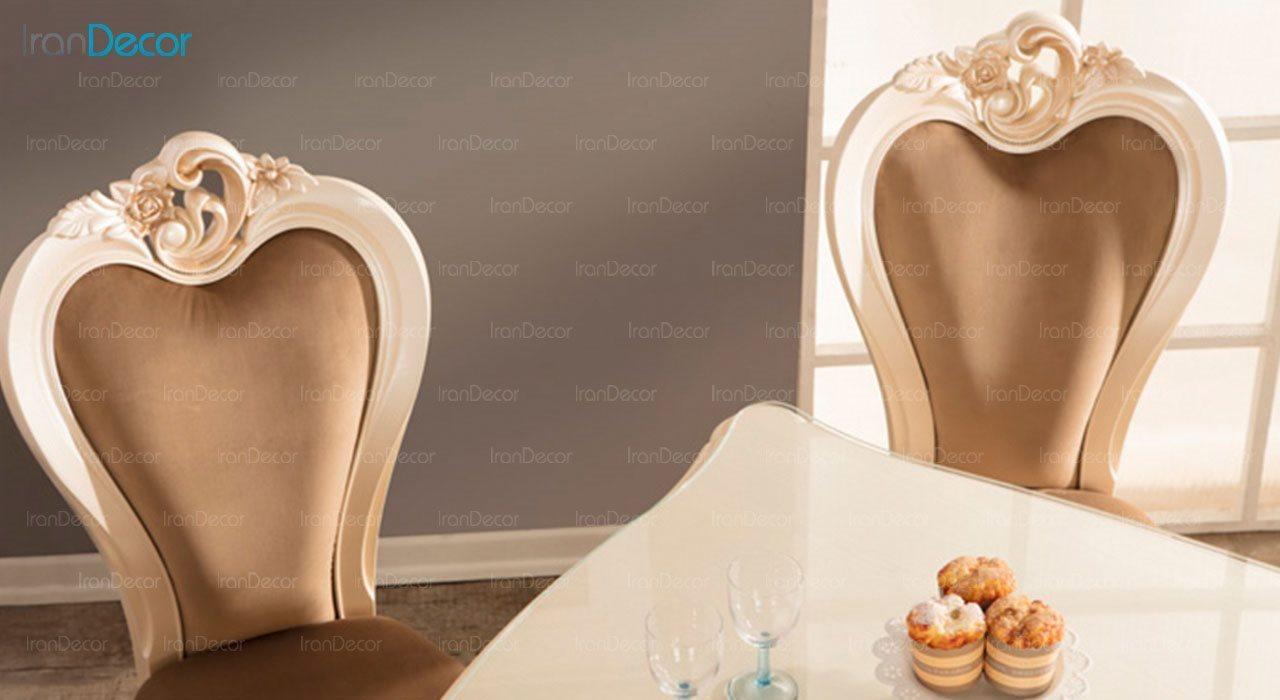 عکس سرویس ناهار خوری سلطنتی ماندگار مدل رز با صندلی سپید