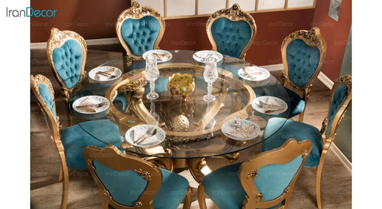 عکس سرویس ناهار خوری سلطنتی ماندگار مدل سپید با صندلی رز