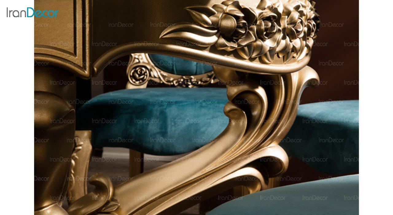 تصویر سرویس ناهار خوری سلطنتی ماندگار مدل سپید با صندلی رز