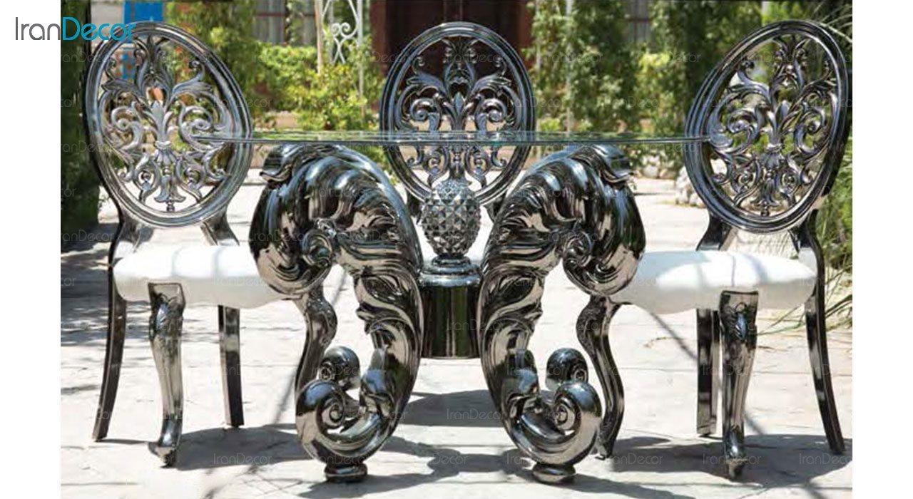تصویر سرویس ناهار خوری سلطنتی ماندگار مدل نیلا با صندلی روبینا