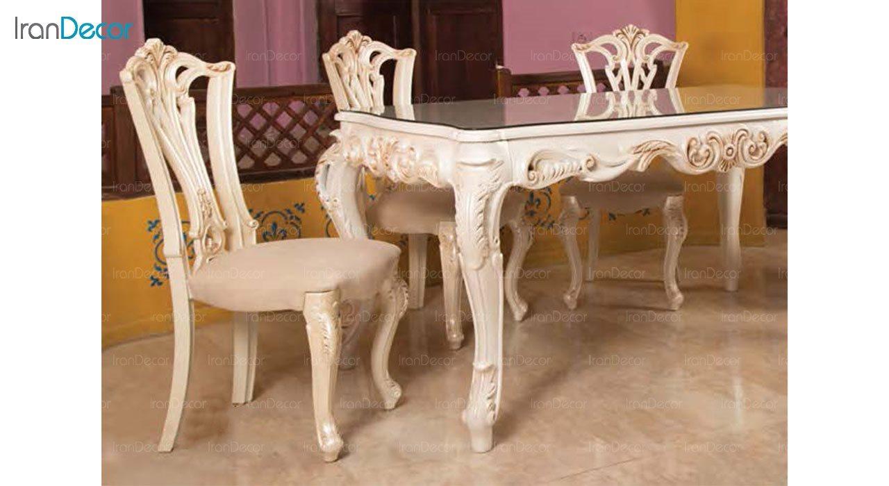 تصویر سرویس ناهار خوری سلطنتی ماندگار مدل روبینا با صندلی ویونا