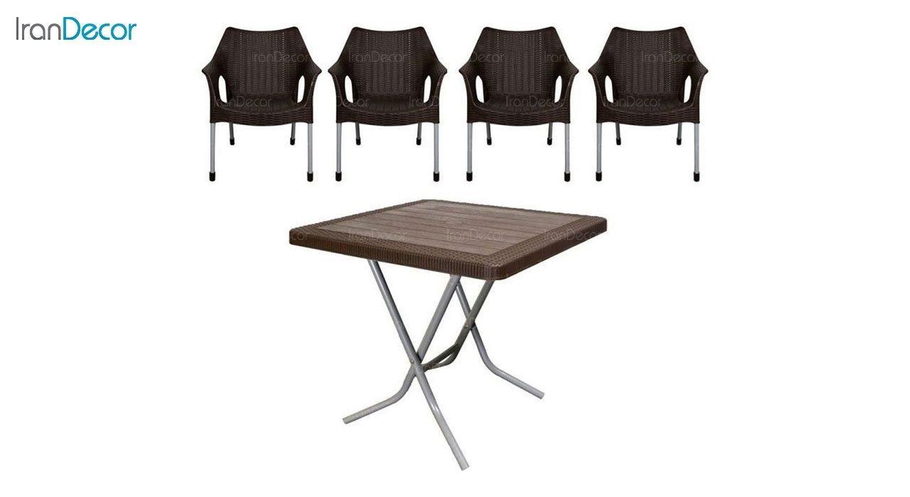 تصویر ست میز و صندلی پلاستیکی مربع ناصر پلاستیک مدل 991523