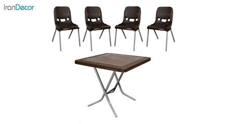 تصویر ست میز و صندلی پلاستیکی مربع ناصر پلاستیک مدل 881523