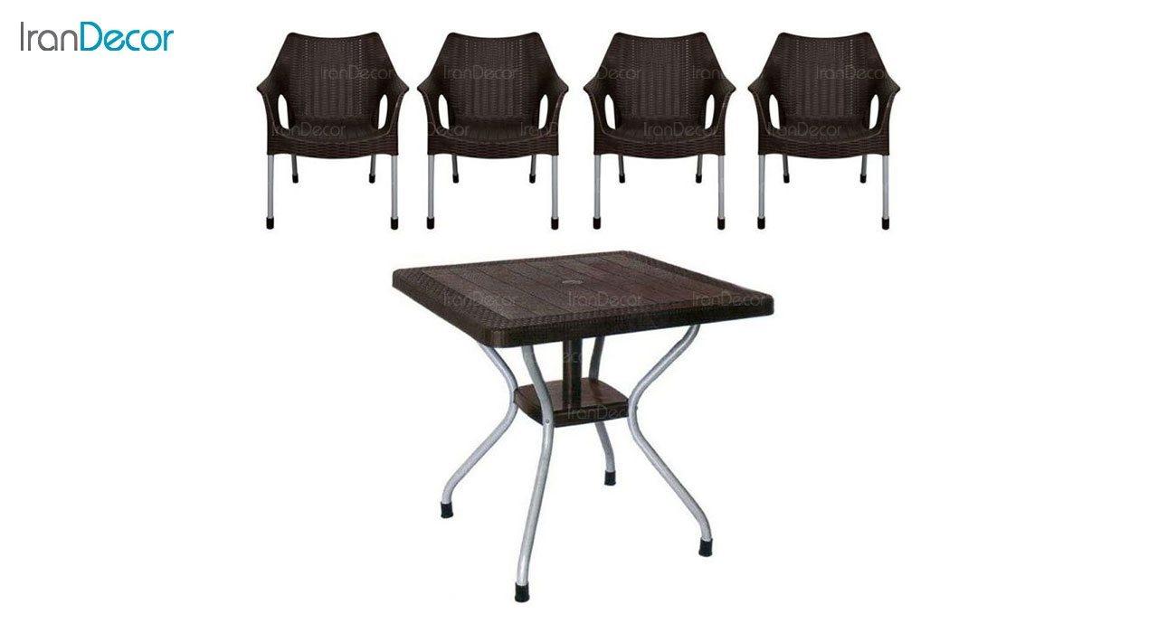 تصویر ست میز و صندلی پلاستیکی مربع ناصر پلاستیک مدل 991623