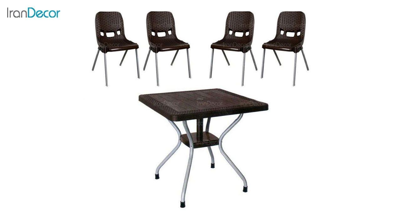 تصویر ست میز و صندلی پلاستیکی مربع ناصر پلاستیک مدل 881623