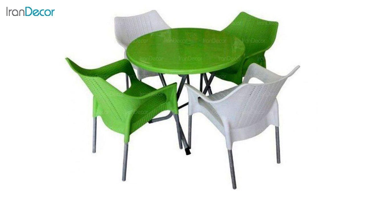 تصویر ست میز و صندلی پلاستیکی گرد ناصر پلاستیک مدل 991722