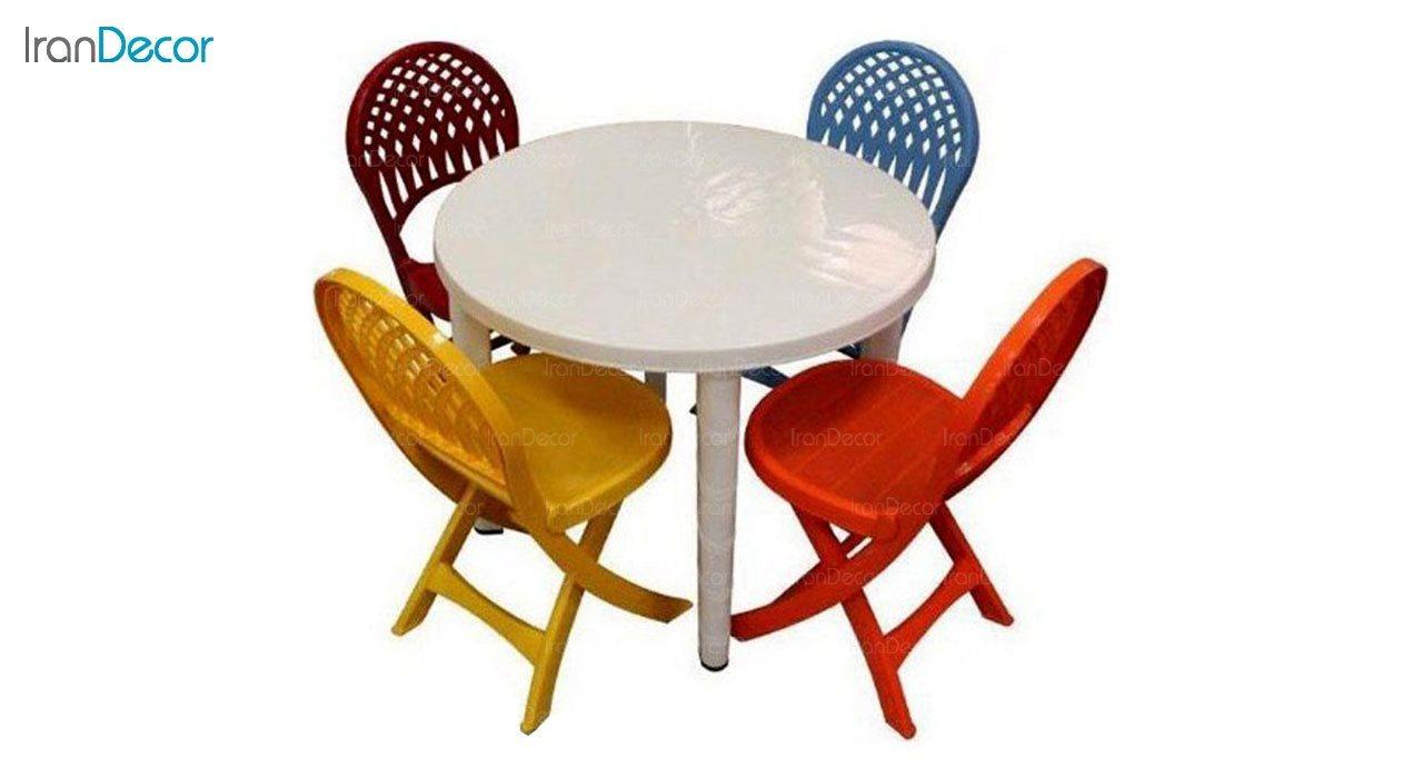 تصویر ست میز و صندلی پلاستیکی گرد ناصر پلاستیک مدل 857822