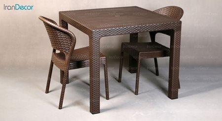 تصویر ست میز و صندلی پلاستیکی مربع ناصر پلاستیک مدل 972323