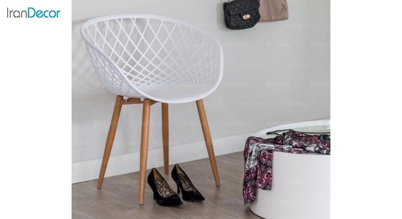 عکس صندلی پایه چوبی بنیزان مدل بامبو کد BA570S
