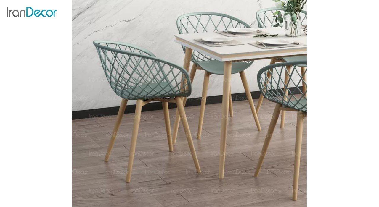 تصویر صندلی پایه چوبی بنیزان مدل بامبو کد BA570S