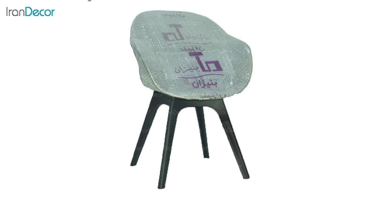 تصویر صندلی دسته دار پلاستیکی بنیزان مدل صدف کد S520 با رویه پارچه
