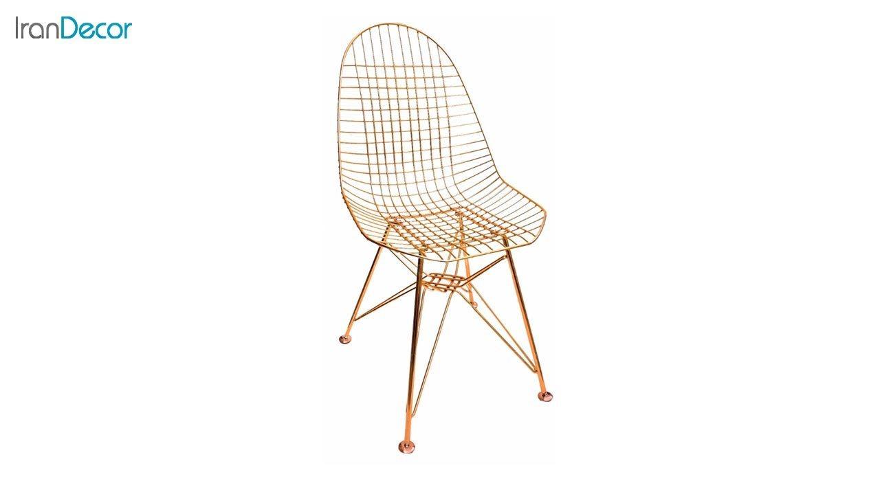 تصویر صندلی پایه درختی فلزی بنیزان مدل پاپیتال کد P560RG رزگلد