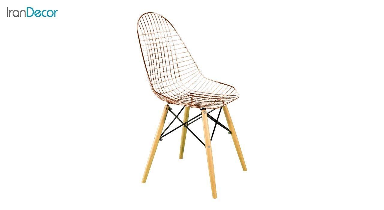تصویر صندلی پایه ایفلی چوبی بنیزان مدل پاپیتال کد PRG500 رزگلد