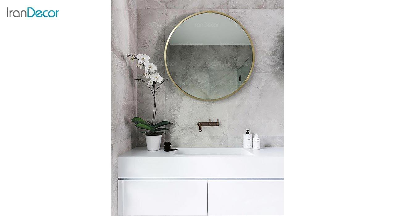 تصویر آینه گرد دیواری مدل گلد کد BC