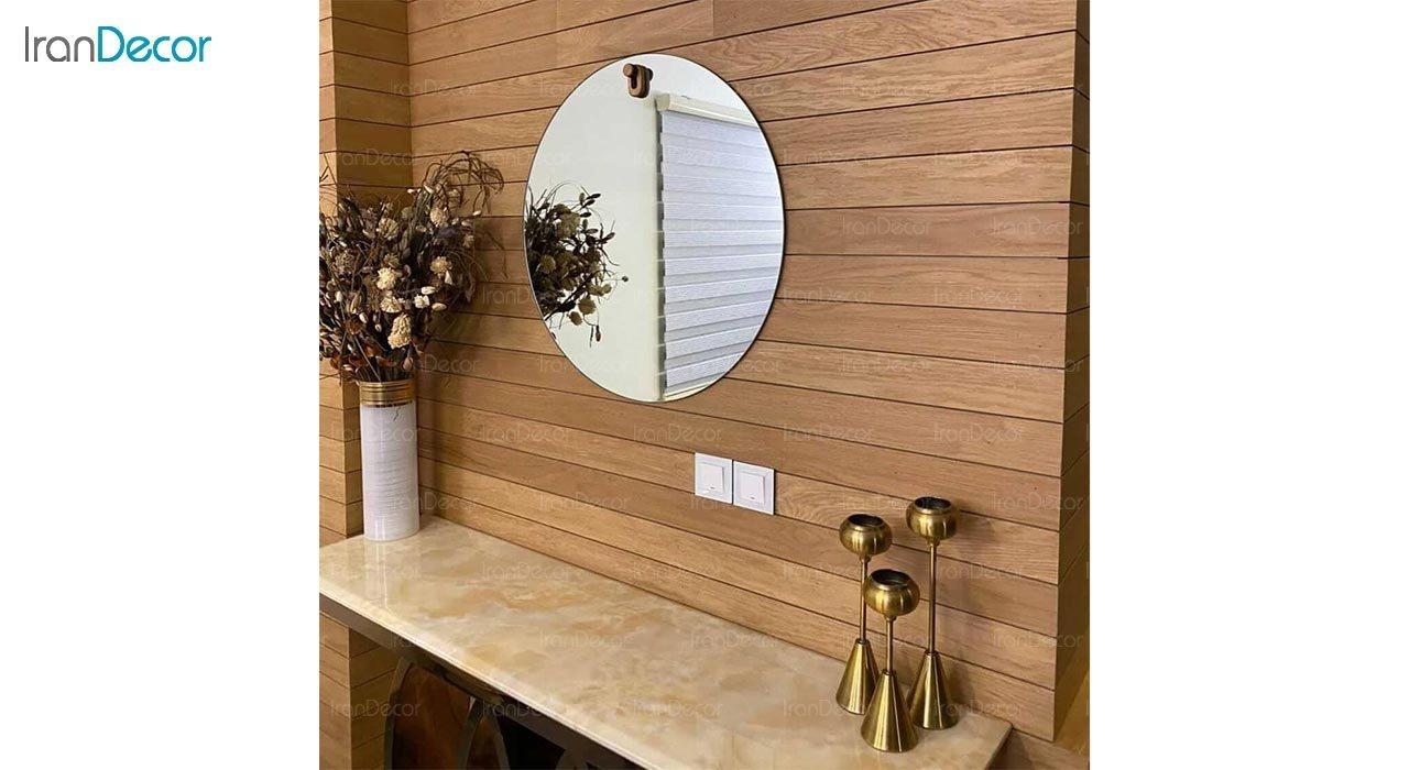 تصویر آینه گرد دیواری مدل پین کد FC