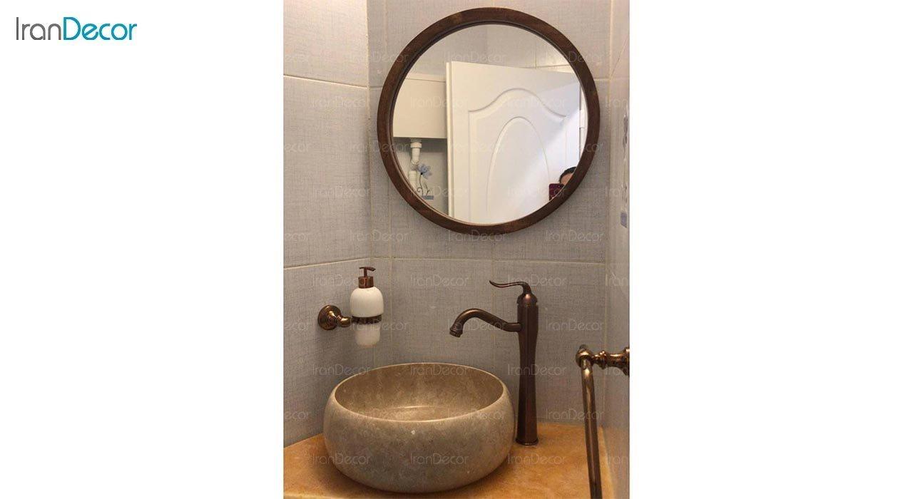 تصویر آینه گرد دیواری مدل سان کد M