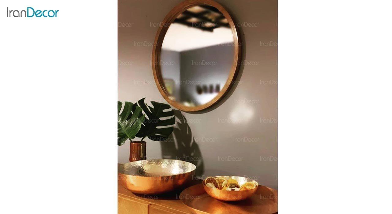 عکس آینه گرد دیواری مدل سان کد M