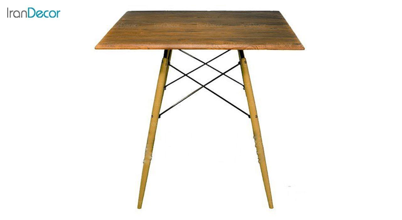 تصویر میز مربع پایه چوبی بنیزان مدل TM500