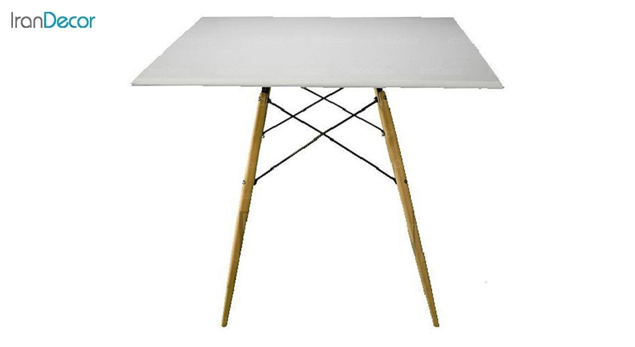عکس میز مربع پایه چوبی بنیزان مدل TM500