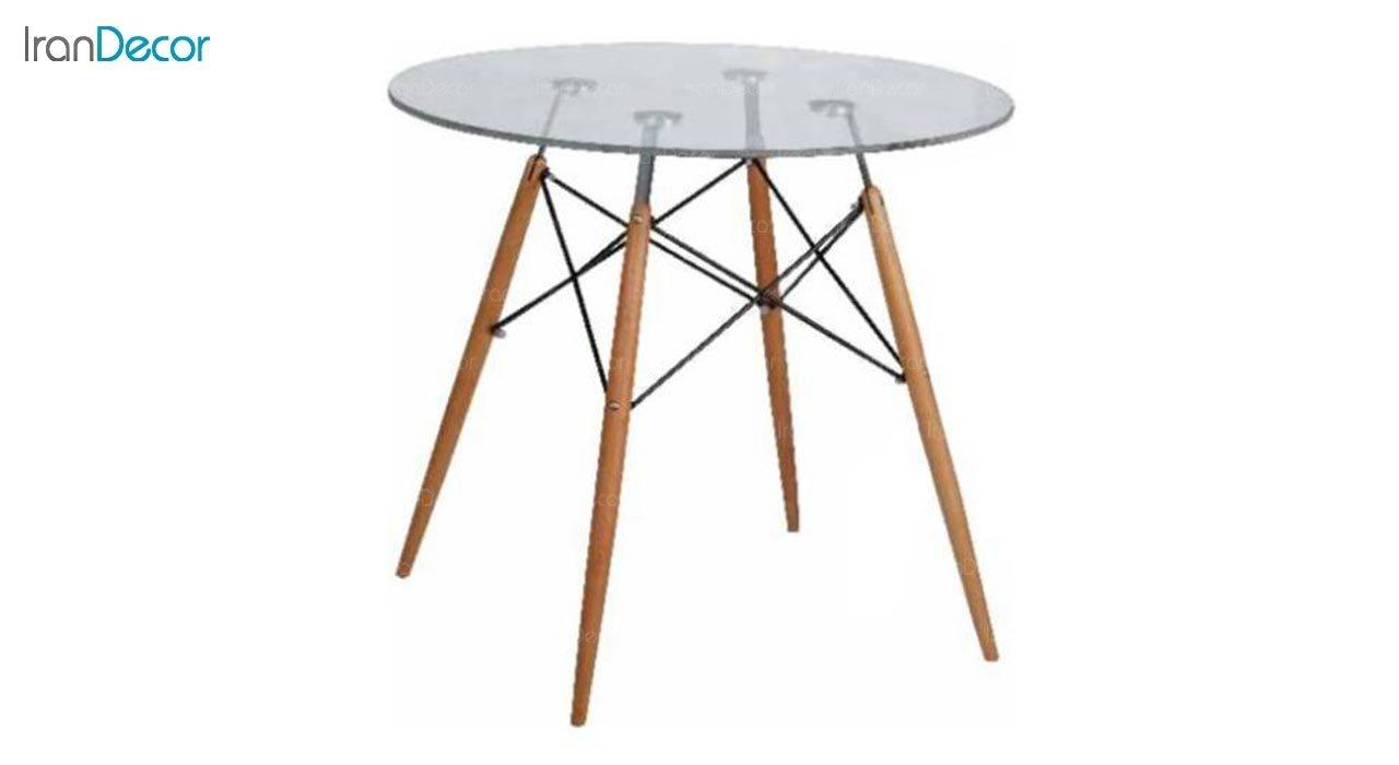 تصویر میز گرد پایه چوبی بنیزان مدل TG500