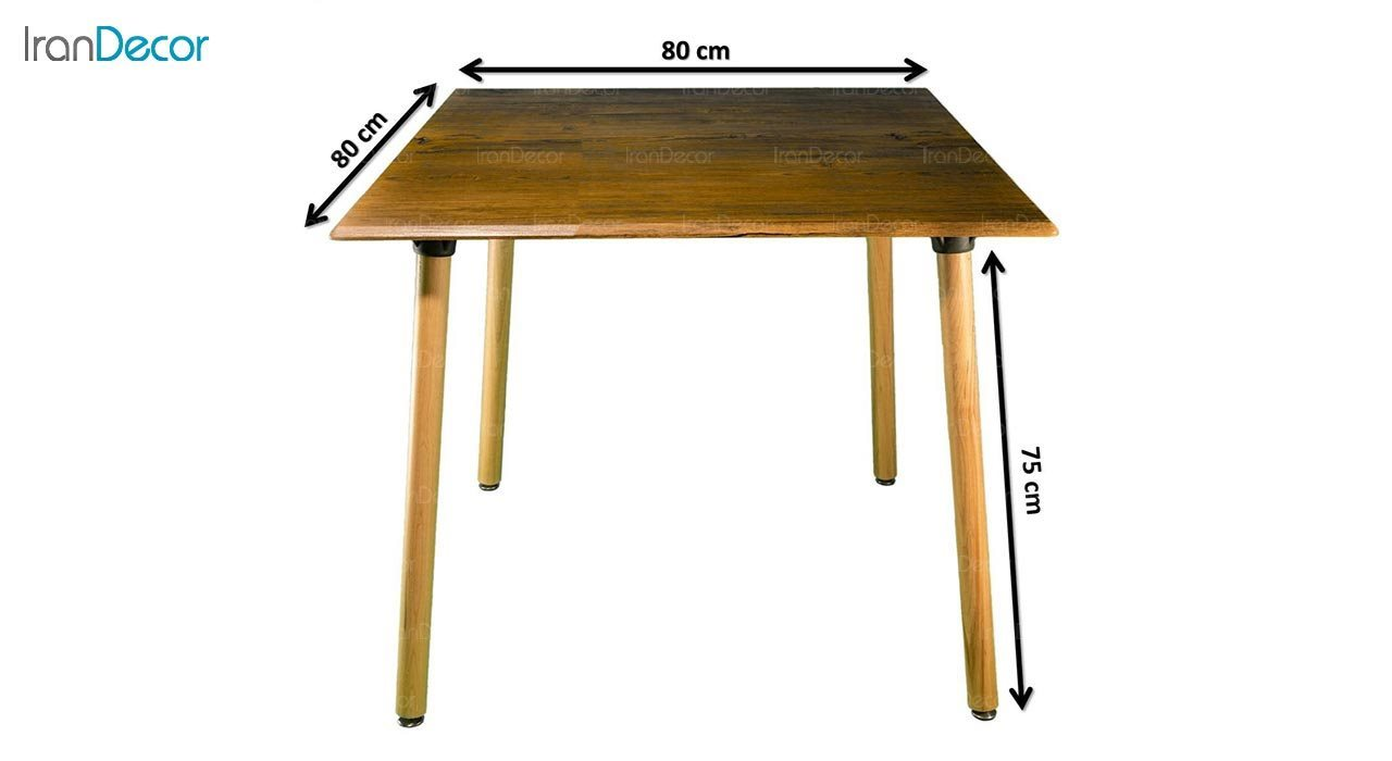 تصویر میز مربع پایه استوانه ای چوبی بنیزان مدل TM505