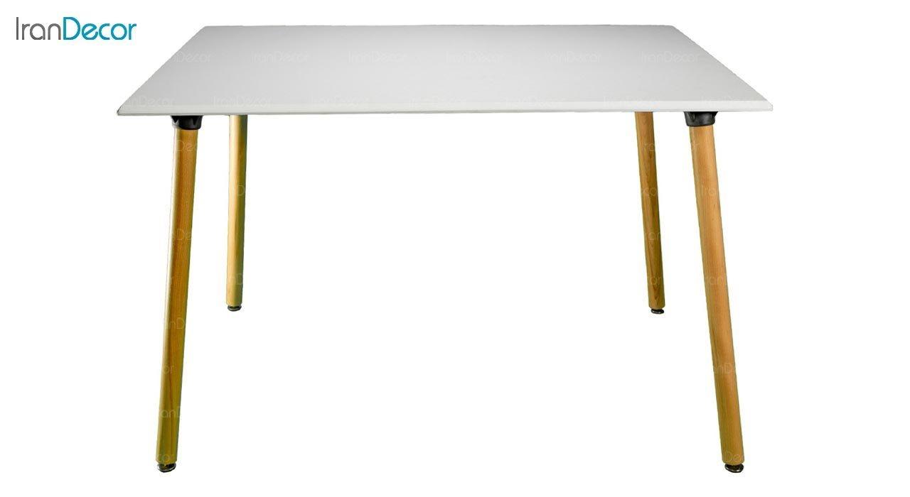 تصویر میز مستطیل پایه استوانه ای چوبی بنیزان مدل TR505