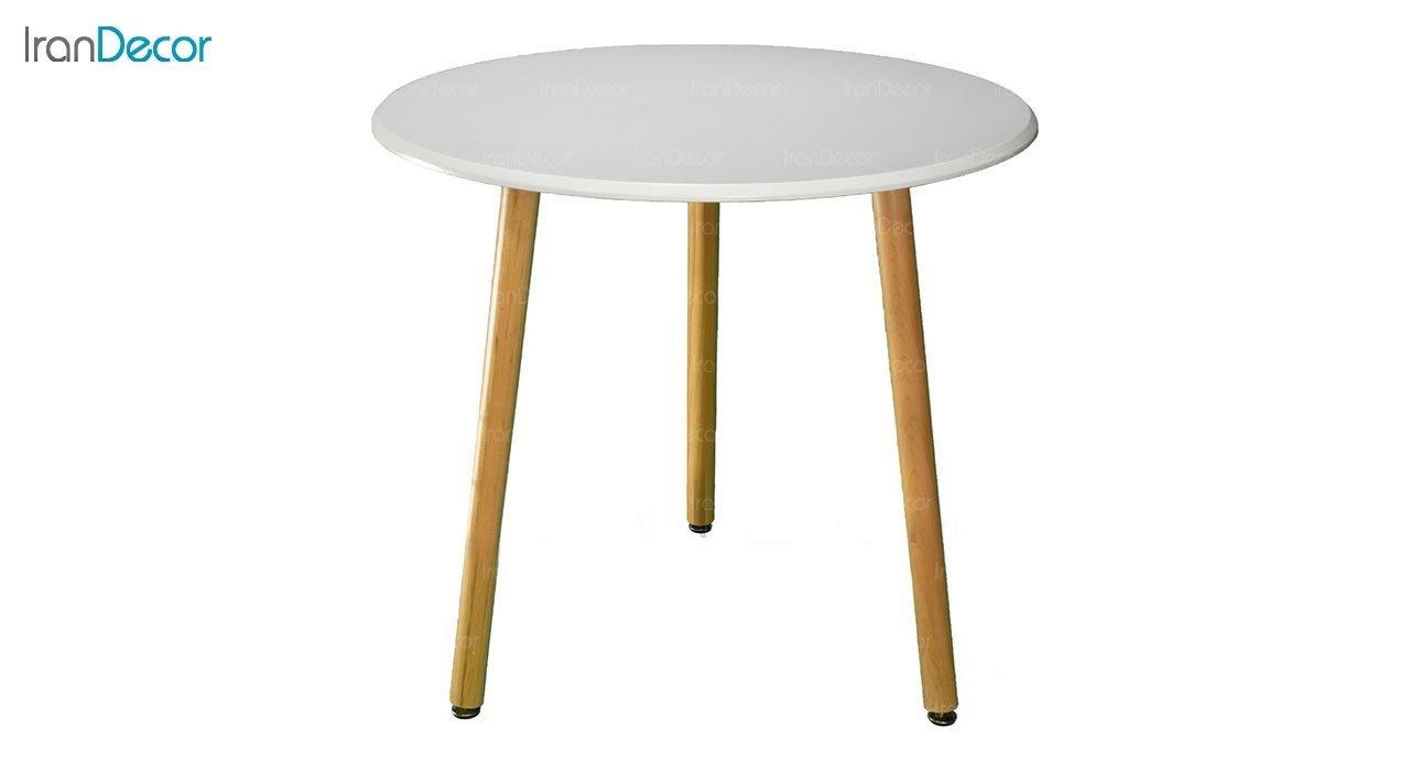 تصویر میز گرد پایه استوانه ای چوبی بنیزان مدل TM505