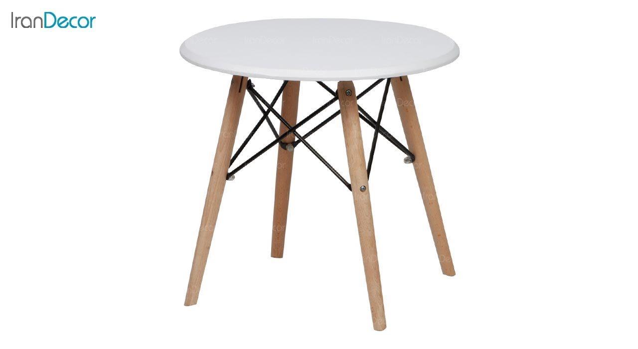 تصویر میز عسلی گرد پایه چوبی بنیزان مدل DM500