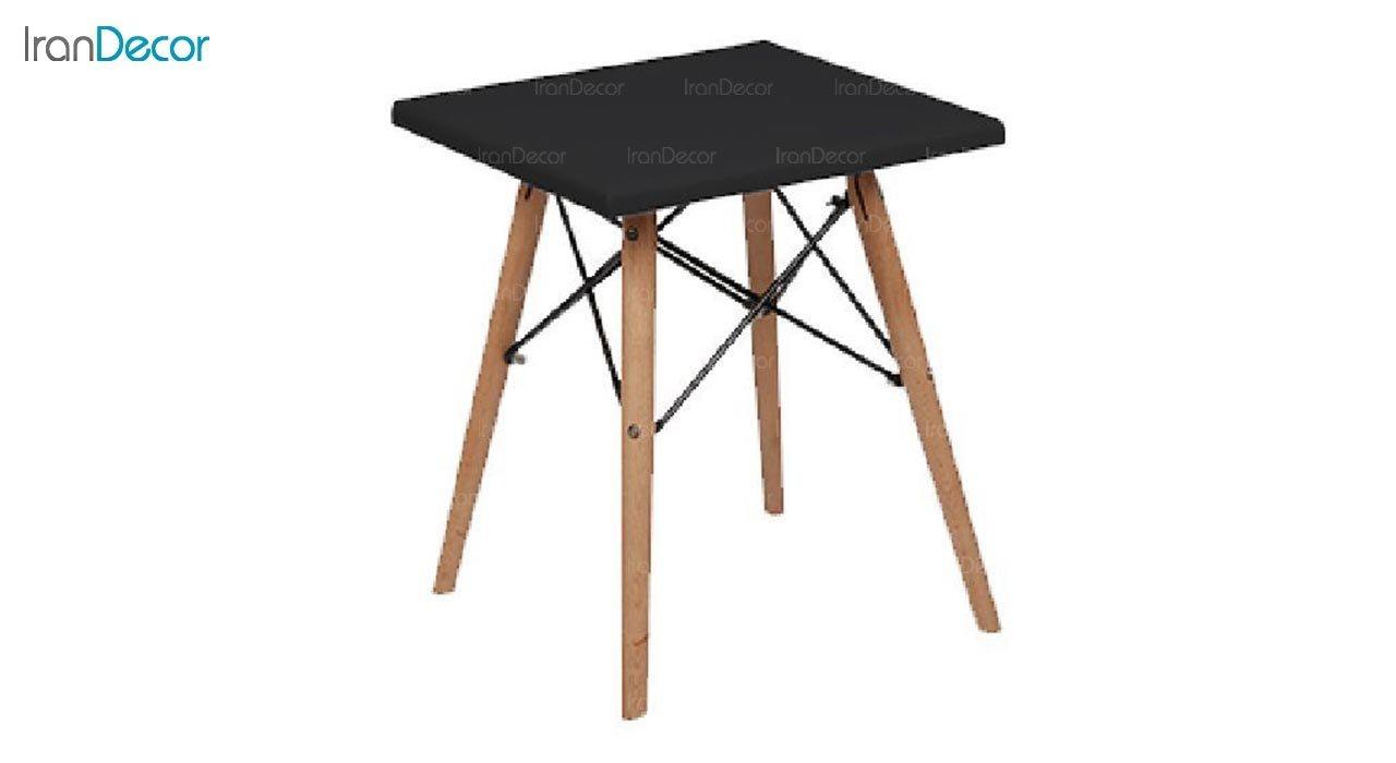 تصویر میز عسلی مربع پایه چوبی بنیزان مدل DM500