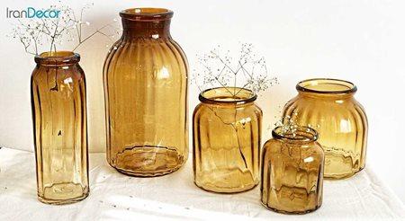 تصویر ست گلدان شیشه ای  برسام مدل استوانه ای