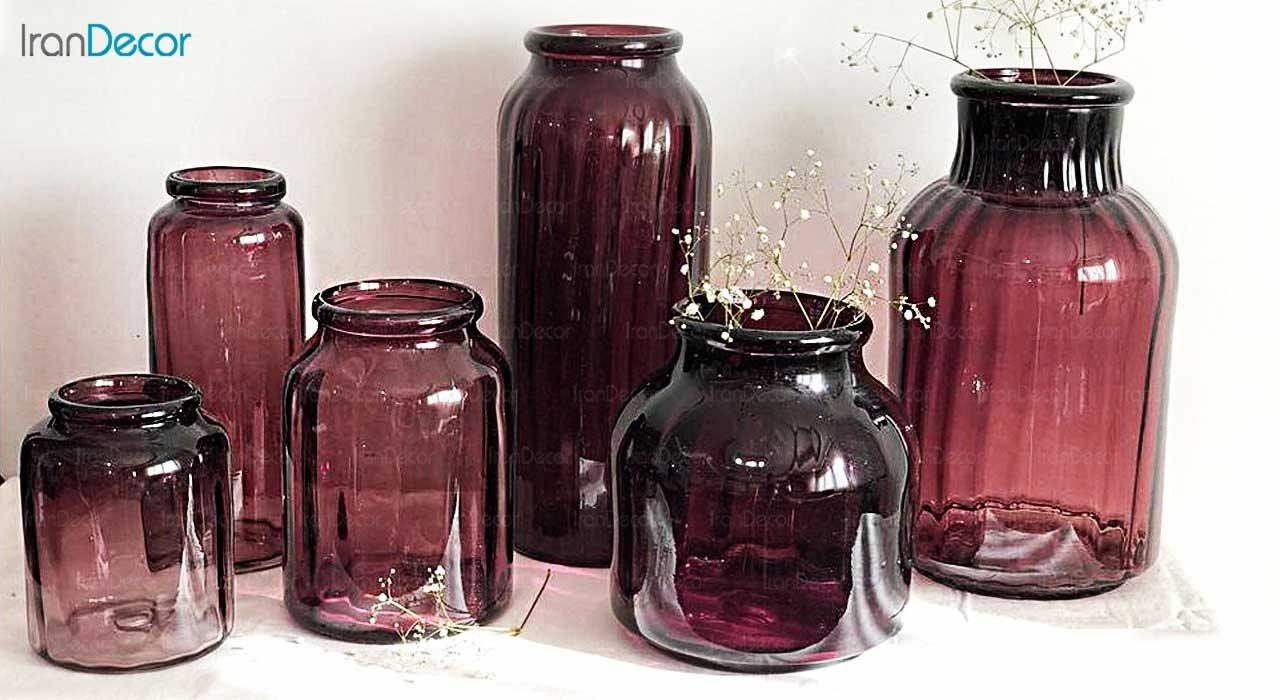 عکس ست گلدان شیشه ای  برسام مدل استوانه ای