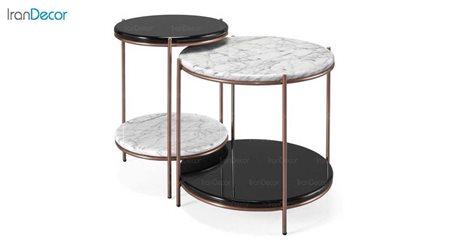 تصویر ست میز  پذیرایی دو طبقه سنگی مدل سیلوا