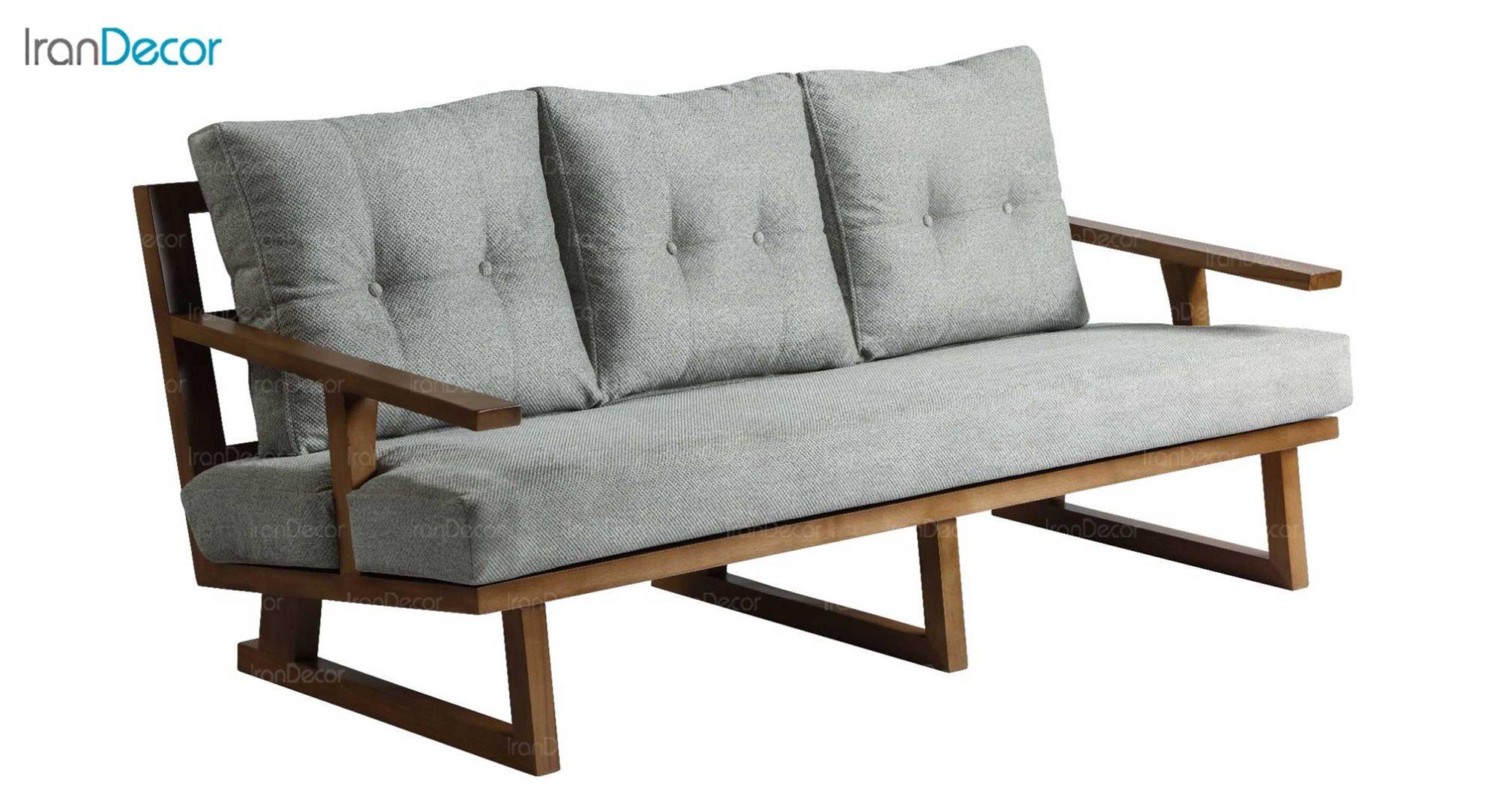 عکس مبل سه نفره دسته چوبی آفر مدل چیرو