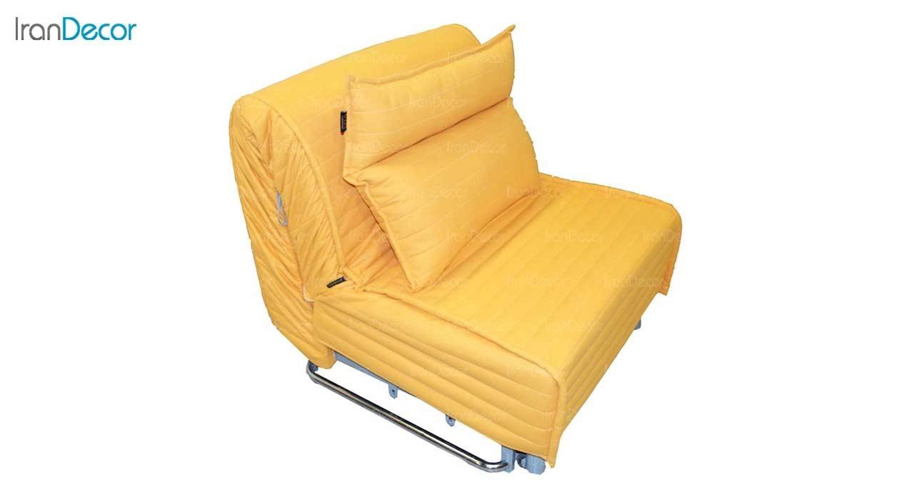 تصویر مبل تختخواب شو تک نفره کمجا مدل بطریسا زرد